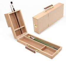 Pinselbox 2 mit Pinselhalter, Pinselständer, Buche Utensilienkoffer für Künstler
