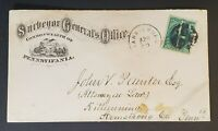 1880's Harrisburg to Kittanning PA State Surveyor Postal Card Fancy Cancel Cover