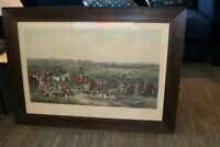 The Meeting of Her Majesty's Stag Hounds Engraved Print F. Bromley  Framed