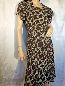Vintage 100% silk Chiffon swing Dress 30s 40s flutter slv L collar Smocked midi
