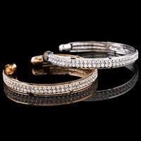 Fashion Women Gold Silver Crystal Rhinestone Bangle Cuff Bracelet Jewelry
