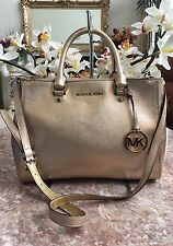 Michael Kors Savanna Metallic Gold Saffiano Leather Satchel Shoulder Bag $298