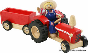 BRAND NEW child's gift TOY wooden FARM TRACTOR & WAGON pretend PLAY imaginative
