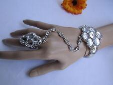Slave Bracelet Ring Bead Rhinestone Bling Women Silver Metal Hand Chains Fashion
