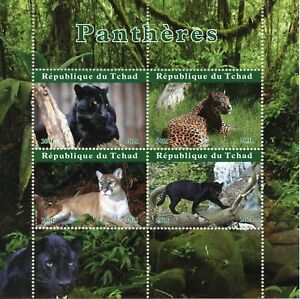 Chad Wild Animals Stamps 2021 MNH Panthers Leopards Black Panther Fauna 4v M/S
