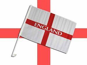 """England St George Car Windows Flag 12""""x18"""" Easy Install Clip On Football 2 Flags"""