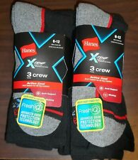 Hanes X-Temp Black 2x 3-Pack. (6-Total) Active Cool Arch Support Crew Socks 6-12