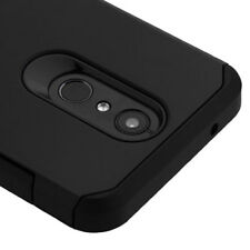 For LG Stylo 4 - Black Hard Hybrid Rubber Protector Skin Case Armor Cover