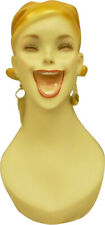 Artistic Vintage Fiberglass Adult Female Smiling Mannequin Head With Molded Hair