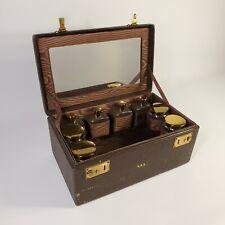 1940s VINTAGE LEATHER TRAIN MAKEUP VANITY CASE SUITCASE with Key Bottles