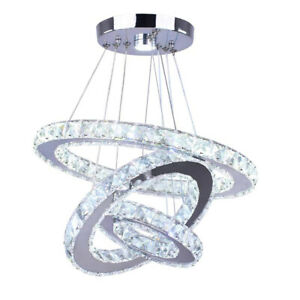 Modern 54W LED Ceiling Light 3 Crystal Ring Pendant Chandelier Lamp Home Decor