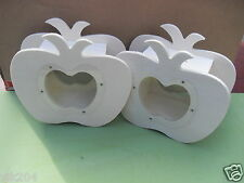 WHOLESALE 6 X PLAIN WOODEN APPLE SHAPE MONEY BOX DECOUPAGE KIDS ART CRAFT