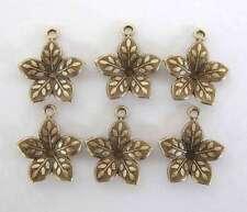 Antiqued Brass Ox Flower Charm Embossed Leaf Petals Dapped Drop 15mm