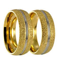 2 diamantierte Bicolor silber/gold Edelstahl Partnerringe Eheringe +Gravur 20162