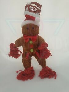 Festive Paws Squeaky Gingerbread Man Dog Rope Toy Doggy Christmas Present