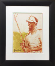 "LeRoy Neiman ""Tiger Woods"" Newly Custom FRAMED ART PRINT Golf Augusta Masters"