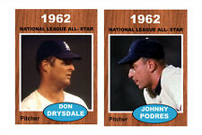 10 NATIONAL LEAGUE ALL STARS,1962 TOPPS STYLE, STANDARD SIZE, BLANK BACK