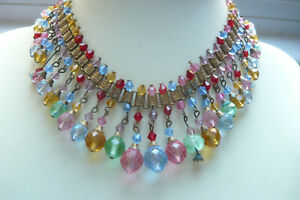 Victorian Gilt Metal and Coloured Glass Collar Necklace