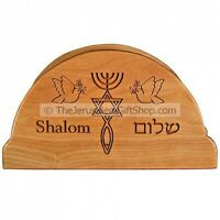 Olive Wood Napkin Holder with 'Grafted In' Messianic Engraving - Made in Israel