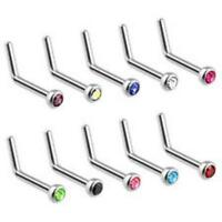 22G 20G 18G L Shape Bendable Nose Ring Stud with Press Fit CZ Gem Surgical Steel