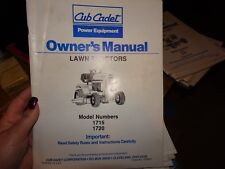 Cub Cadet 1715 1720 Riding Lawn Mower Tractor Operator's Owners Manual