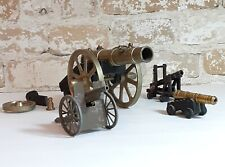 Set of 4 Miniature Metal Cannons Vintage Military Artillery Collectibles