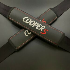 Black Seat Belt Shoulder Mini Pads Covers Gray & red embroidery Cooper S 2PCS