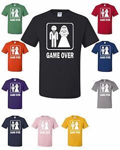 Game Over T-Shirt Funny Groom Bride Tee Shirt Bachelor Wedding Gift Husband Wife