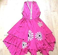 FRENCH DESIGNER 1970s SIGNED DISCO HALTER DRESS~HAND-PAINTED PINK JERSEY~NEW~S/M