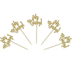 Set of 24 Gold Glitter Oh Baby Cake Cupcake Toppers Picks for Wedding Birthday