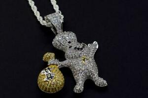 Hip Hop 14K White Plated Rapper Dough Boy Money Bag Iced Pendant with Rope Chain