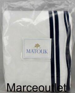 Matouk River 500 Thread Count Egyptian Cotton FULL  / QUEEN Duvet White / Navy