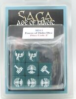 SAGA SD11 Forces of Order Dice (Age of Magic) Game Accessories Green & White NIB