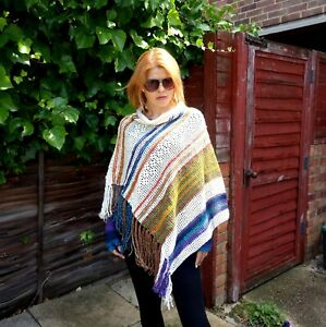 Colorful white poncho and finger less gloves/autumn colors knitting poncho-1set