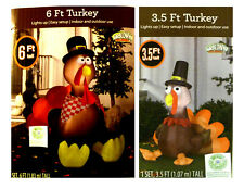 * 3.5 or 6 FOOT TALL NIB INFLATABLE THANKSGIVING TURKEY AIRBLOWN LIGHTS UP