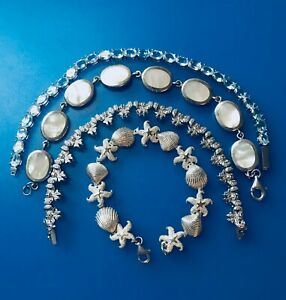 Sterling silver seashore bracelet Lot starfish MOP aquamarine bows