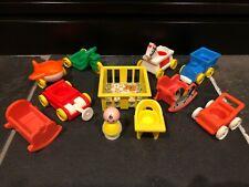 Vtg Fisher Price Little People Baby w/ Bib Nursery Crib Rocker Playpen Stroller