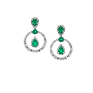 14kt White Gold Finish Gewwn Emerald And Diamond Dangle Drop earrings In silver