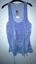 NEW NEXT LADIES 20 Blue Sleeveless Velvet Ruched tunic Party Top Longline RRP£36