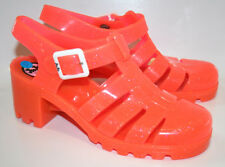 Women's JUJU Babe Hi Jelly Heeled Sandal Shoes Glitter Coral Strap UK 4 RRP: £28