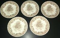 """(5) Churchill Myott Factory Archive THANKSGIVING Turkey 8"""" Salad Plates ****"""