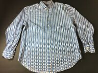 Thomas Dean Mens White Blue Geometric Button Front Shirt Size XL