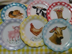Pioneer Woman Novelty Gingham Medley Farm Animal Appetizer Plates &  rack 7Piece