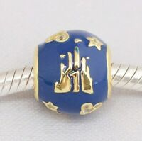 Sterling Silver Bead Charm Mickey Blue and Gold Charm Fit European Bracelet