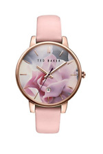 Ted Baker Women's Floral Dial Pink Leather Strap Watch 10030745 NEW IN BOX!!