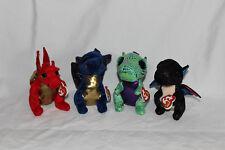 Ty Beanie Boo's Dragones x4-anora, saffire, Cinder & Legend-Bnwt