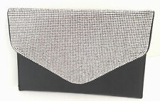 STUNNING BLACK EVENING BAG CLUTCH PURSE MULTI  RHINESTONE DESIGN HANDBAG