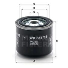Mann WK811/86 Fuel Filter Spin On 74mm Height 82mm Outer Diameter Service