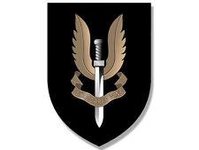 "4"" black shield sas who dares win seal car bumper sticker decal usa made"