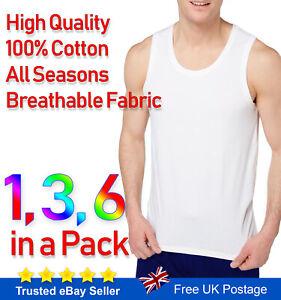 Mens Vests 100% Cotton Tank Top Gym Training White Plain S M L XL 2XL 3XL 4XL